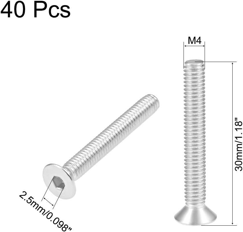 Sourcing map Vis plates pour machine /à vis hexagonales int/érieures en acier inoxydable 304