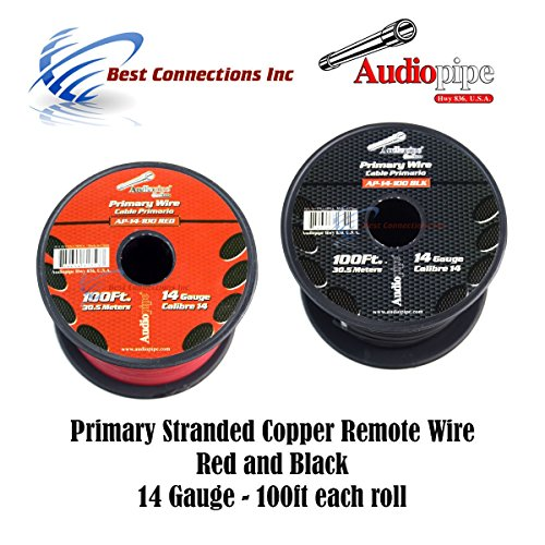 Primary Copper Wire - 14 GAUGE WIRE RED & BLACK POWER GROUND 100 FT EACH PRIMARY STRANDED COPPER CLAD