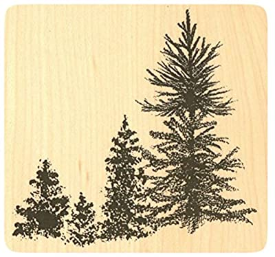 "{Single Count} Unique & Custom (4"" Inches) ""Forest, Pine Tree Scene"" Square Shaped Genuine Wood Mounted Rubber Inking Stamp"