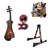 Meisel Electric Violin Pack Sunburst w/Red Stand, Tuner & Skull Rosin