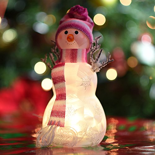 Light Up LED Snowman With Pink Scarf And Hat