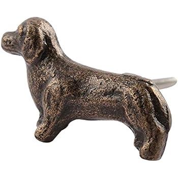 Set Of 4 Dachshund Dog Iron Cabinet Knob In Antique Brass