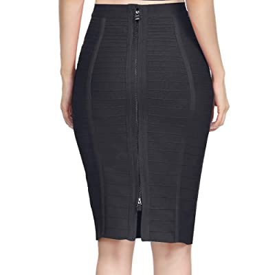 Nayssi Women's High Waist Knee Length Stripe Bandage Pencil Skirt at Women's Clothing store