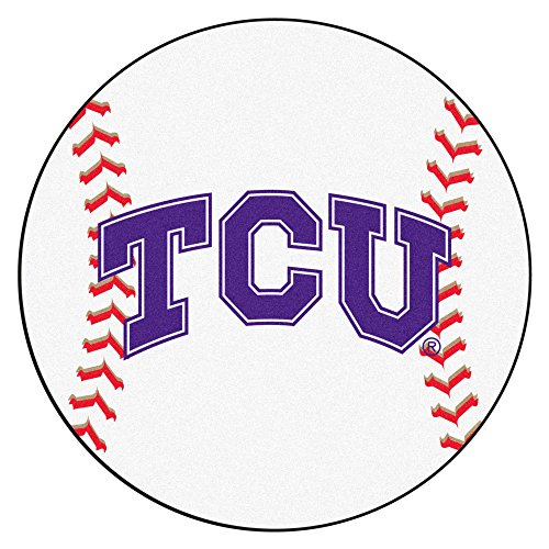 NCAA Texas Christian University Horned Frogs Baseball Shaped Mat Round Area Rug