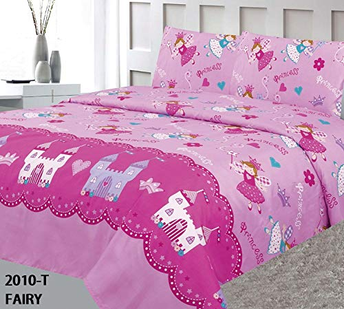 Twin Quilt Fairies - MB Collection Twin Size 2 Pieces Printed Princess Fairy in Castle Design Pink, Light Pink Kids Bedspread/Coverlet Sets/Quilt Set# Twin Fairy Quilt