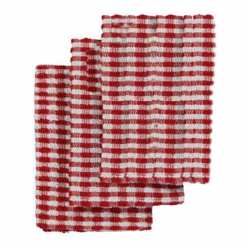 Linens Limited Terry Towelling Cotton Kitchen Tea Towels, Red/White, 3 Pack