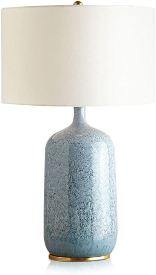 Lámpara de mesa Grande sala Lámpara de noche Minimalismo cerámica Azul claro Beige Cuarto Luz para leer A+: Amazon.es: Hogar