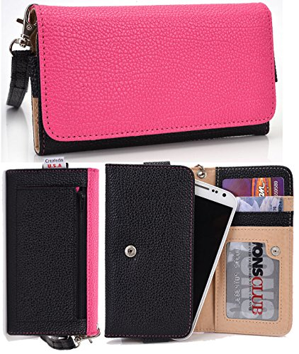 Samsung I9295 Galaxy S4 Active Wallet Wristlet Clutch with Coin Money Zipper Pocket and Three ID Credit Card Compartments. Includes one Detachable Wrist Strap. Color: Magenta / Black (ESMLMTKM)