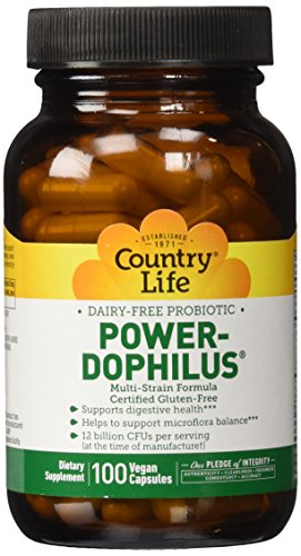 Country Life Power-Dophilus (Milk-Free Dietary Supplement) Vegetarian Capsule, 100-Vegetarian Capsules