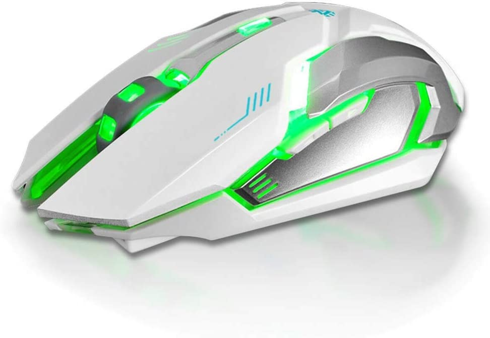 Gaming Mouse Rechargeable X7 Wireless Silent LED Backlit USB Optical Ergonomic White