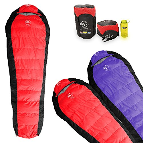 Outdoor Vitals Atlas 15°F Lightweight Down Sleeping Bag with Compression Sack & (Red (Last Years Edition), (Mummy Zip)