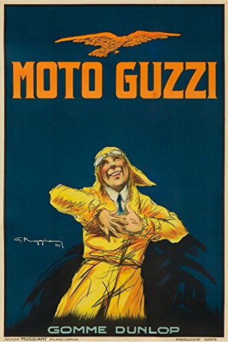 Italy - Moto Guzzi - (artist: Giorgio Muggiani c. 1917) - Vintage Advertisement (16x24 Giclee Gallery Print, Wall Decor Travel Poster)
