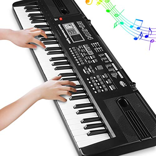 Price comparison product image Digital Music Piano Keyboard 61 Key - Portable Electronic Musical Instrument with Microphone Kids Piano Musical Teaching Keyboard Toy For Birthday Christmas Festival Gift