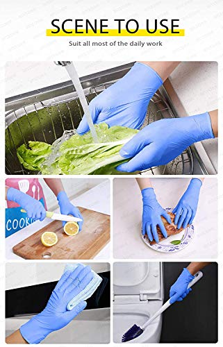 10 PCS Household Cleaning Gloves Blue, Anzoee Dishwashing Gloves Washing Gloves with Textured Fingertips Food Service Powder Free Gloves