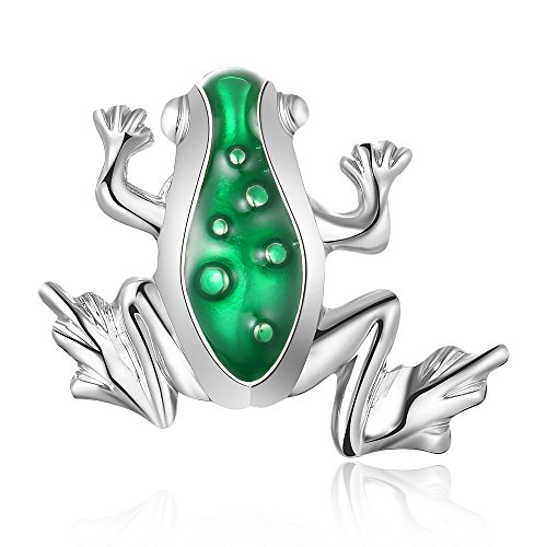 CHUANGYUN Green Enamel Insect Frog Magnetic Clip Brooches Multifunctional Accessories for Women (Sliver)