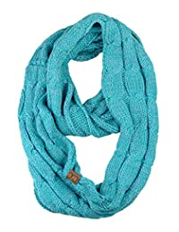 NYFASHION101 Soft Warm Chunky Cable Knit Infinity Loop Scarf - Denim/Sage