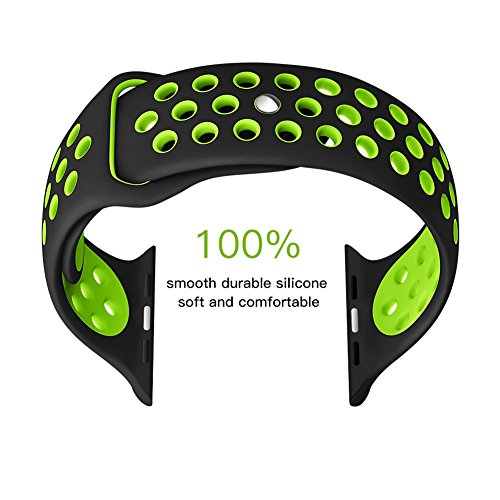 Fashion Green Protective Band for Apple Watch, Soft Silicine+ Sport Wrist Strap Wristband with Ventilation Holes for iWatch,Quick