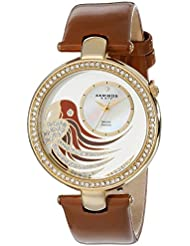 Akribos XXIV Womens AK602BR Lady Diamond Parrot Dial Swiss Quartz Leather Strap Watch