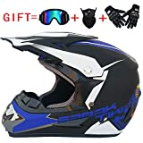 Ocamo Fashion Outdoor Off Road Casco Motorcycle & Moto Dirt Bike Motocross Racing Helmet Set with Mask M Matte black and blue