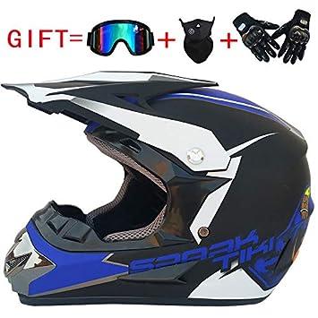 lanlan casco Integral Moto para hombre personalizado Vintage, casco + Guantes + besugos + máscara