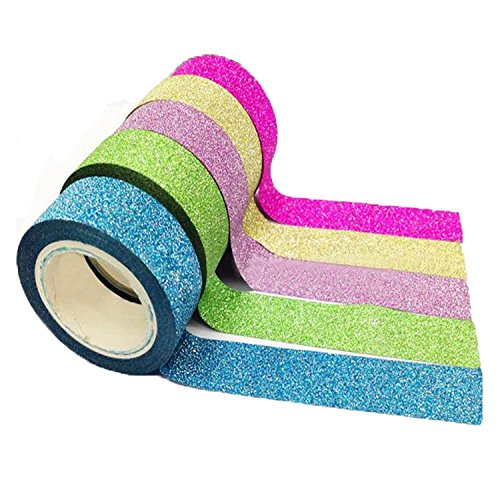 Ribbon Paper Adhesive (Kentop 10 Pcs Solid Color Glitter Ribbon DIY Adhesive Tapes Sticky Christmas Holiday, Birthday Gift Wrapping, Hair Bow Clips & Card Making, Sewing, Wedding Decor, Floral Design)