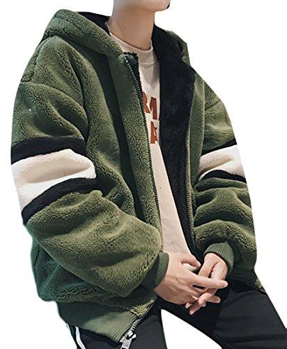 M amp; Outwear Lunghe Cappotto Cappuccio Con Maniche Uomini Lana Caldo amp; Verde S D'agnello Di A W rrZxgfwq