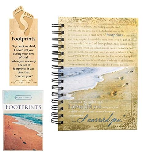 - Christian Art Gifts - Gift Set of Footprint Journal, Words of Hope and Magnetic Bookmark