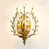 Wall Sconces Light E12 E14 Base Wall Industrial Vintage Edison Simplicity Lamp Fixture Tree Leaf Crystal Steel Finished for Cafe Club Home Decor by LightInTheBox (Gold)