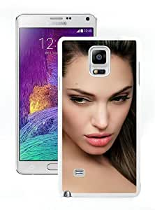 New Unique And Popular Samsung Galaxy Note 4 Case Designed With Angelina Jolie Face Eyes Hair Image Celebrity White Samsung Note 4 Cover