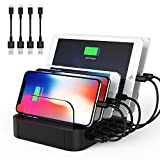 Charging Station for Multiple Devices - 5 Port USB Desktop Universal and Compact Charger Station Organizer for Apple iPhone iPad Samsung Kindle