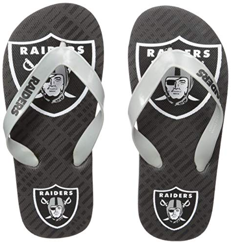 (NFL Oakland Raiders Double Logo FLIP FLOPOAKLAND Raiders Double Logo FLIP Flop - Youth 8-16 Small, Team Color, S)