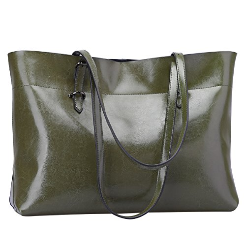 Genuine Leather Purse Tote Bag (S-ZONE Women's Vintage Genuine Leather Tote Shoulder Bag Handbag Upgraded Version (Olive Green))