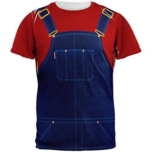 Halloween Overalls - Halloween Overalls Red T-Shirt Costume All Over Adult T-Shirt - Medium