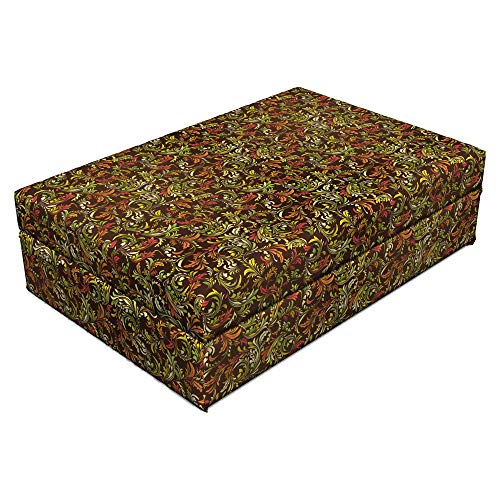 - Ambesonne Earth Tones Pet Bed, Antique Scroll Pattern with Royal Theme and Classical Details Curly Leaf Motifs, Animal Mat Foam and Stylish Printed Cover, 24