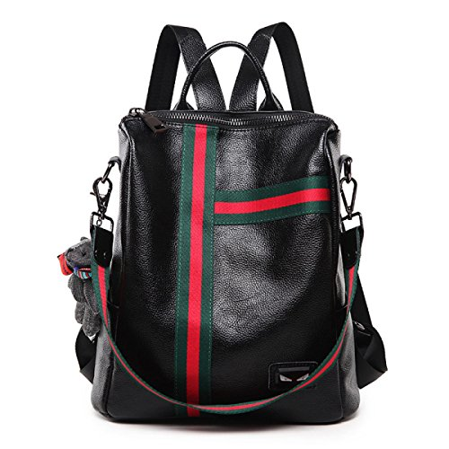 Korean Female Backpack Leather Backpack Personality Wild Leather Fashion Ladies Leather 2018 New Leather Simple Soft Black Informal