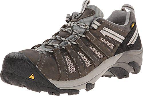 KEEN Utility Men's Flint Low (Steel Toe) Work Shoe for Light-Duty Construction Industrial Boot, Gargoyle/Forest Night, 15 D US