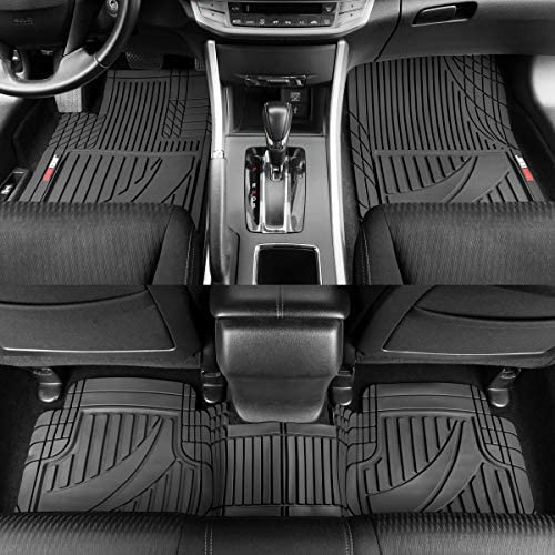 Motor Trend FlexTough Advanced Black Rubber Car Floor Mats – 3 Piece Trim to Fit Floor Mats for Cars Truck SUV, All Weather Automotive Liners with Traction Grips and Multiple Trim Lines…
