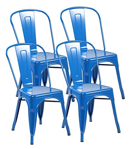 EuroStile Tolix Style Kitchen Dining Bistro Metal Chairs with Back Set of 4-3004 (Bright Deep Blue)