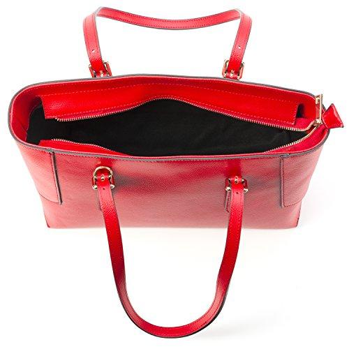 Almo Borsa Donna Shopper a Tracolla Rosso in Vera Pelle