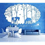 Large Brich Tree Wall Decal With Horse,Vinyl Art Wall Sticker With Swallow For Houseware Gift