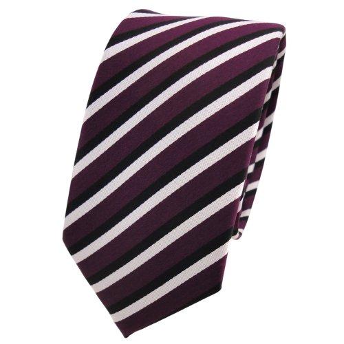 étroit TigerTie Designer cravate lila violet noir blanc rayé -