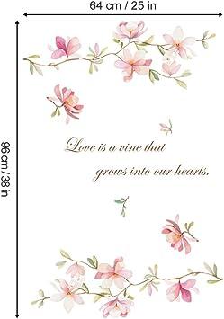 decalmile Pegatinas de Pared Rosado Flor Vinilos Decorativos Magnolia Floral Adhesivos Pared Habitaci/ón Ni/ña Sal/ón Dormitorio Televisi/ón Pared Puerta Decoraci/ón
