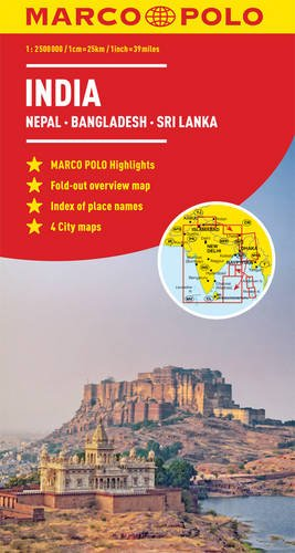 India, Nepal, Bhutan, Bangladesh, Sri Lanka Marco Polo Map (Marco Polo Maps)...