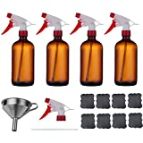 Glass Spray Bottles Liquid for Cleaning Essential Oils Pump Dispensers Stream and Mist Settings Amber Bottles with Stainless Steel Funnel 8 Labels