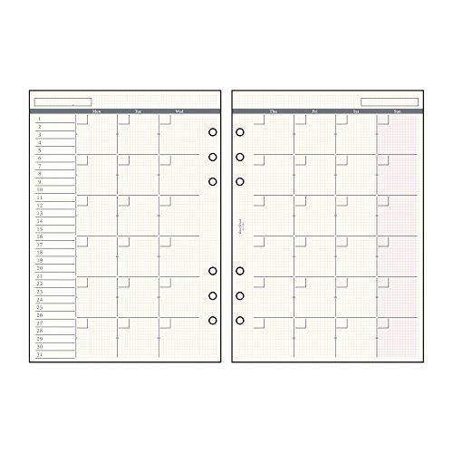 녹 스 시스템 수첩 리필 날짜 없음 마주보는 1 개월간 구획 20 개의 A5 52430400 / Knox System Notebook Refill Date Less Date 1 Month Block 20 Sheets A5 52430400