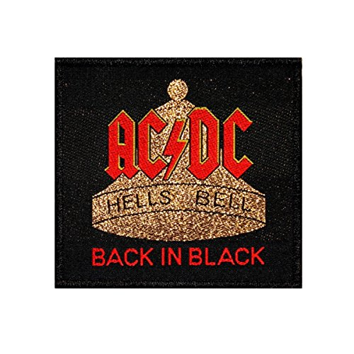 Small Woven Patch (AC/DC ACDC Back In Black Hells Bells Hard Rock Music Woven Sew On Applique Patch)