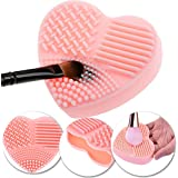 Silicone Gel Cosmetics Make Up Brushes Heart Shaped Washing / Cleaning Mini Finger Glove / Scrubber / Board / Makeup Applicators Cleaner / Scrubbing Tool In Pink Colour