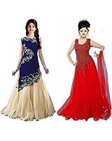 Market Magic World Girl's Blue & Red Velvet, Net Semi Stitched Combo Pack lehenga Choli, Salwar Suit, Gown (Kids Wear_Free Size_8-12 Year age)