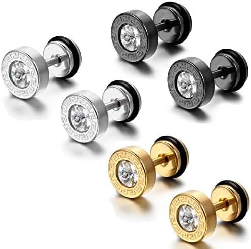 Aroncent 6PCS Men's Stainless Steel Faux Illusion Greek Vintage Stud Earrings