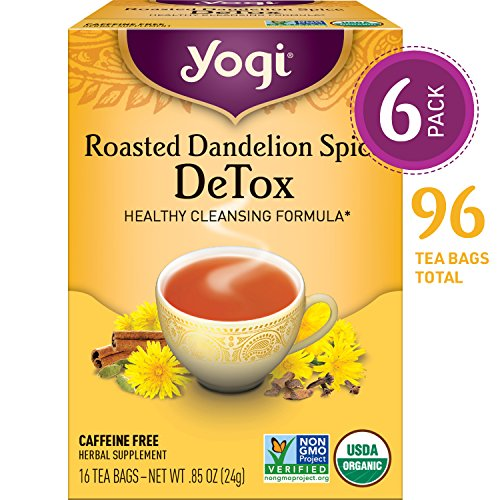 Yogi Tea - Roasted Dandelion Spice DeTox - Healthy Cleansing Formula - 6 Pack, 96 Tea Bags Total (Organic Tea Dandelion)